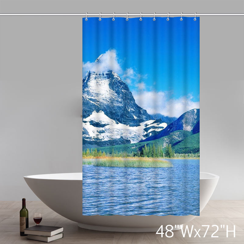Places of Interest The Magnificent Snow-capped Mountains Beside Blue Lake Shower Curtain