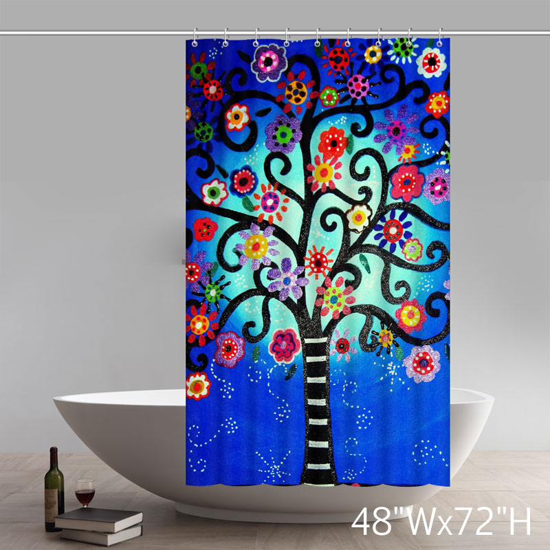 Liberty Art Mexican Style Flower Tree Polyester Shower Curtain Waterproof Material Bath Curtain