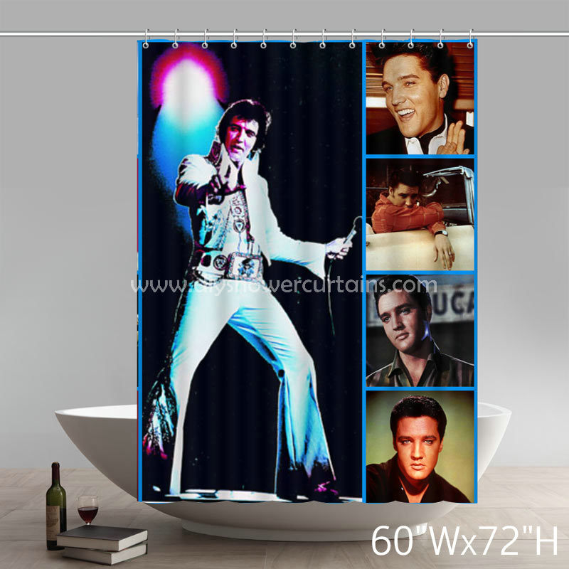 Symbol Elvis Presley Through The Years Bathing Shower Curtains