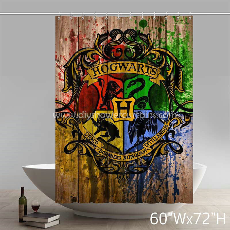 Symbol Hogwarts Crest Watercolor Print Harry Potter Bathing Shower Curtains