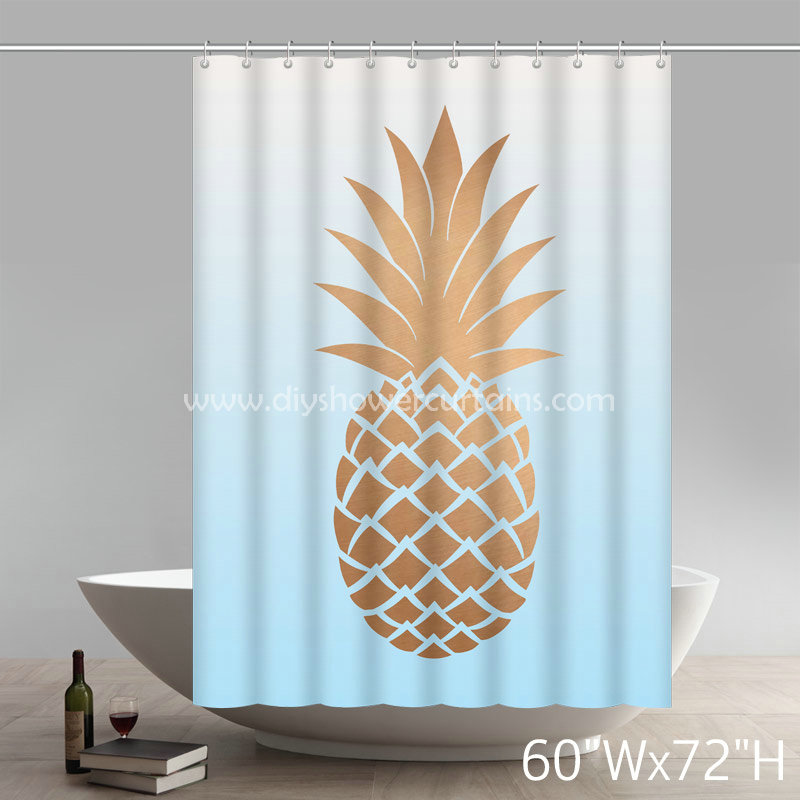 Symbol Pineapple Print Gold  Polyester Fabric Bathroom Shower Curtain