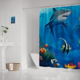 Underwater Sea Life Shark Print Polyester Bathroom Curtains