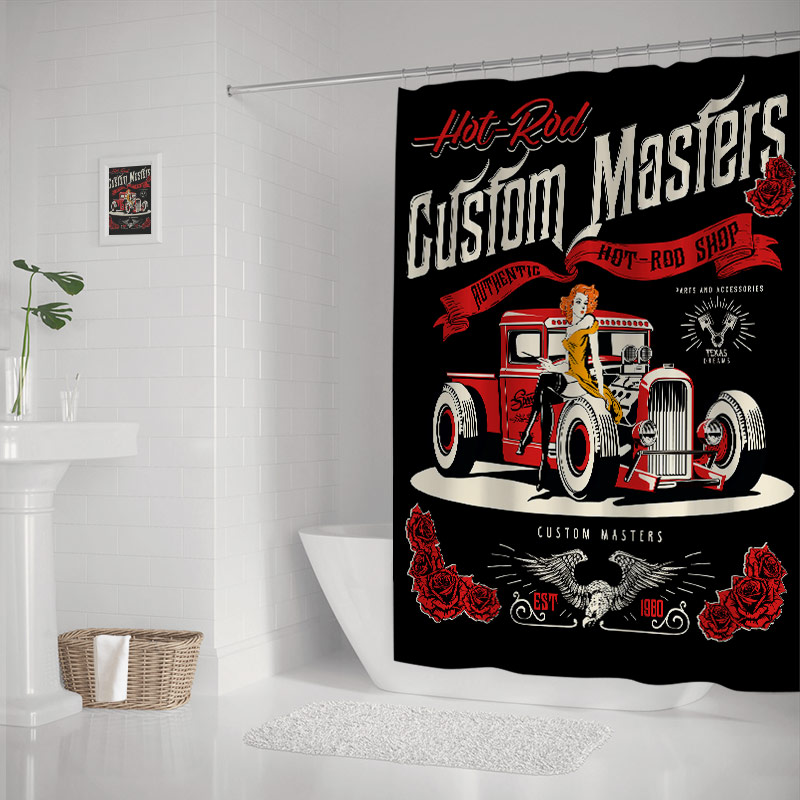 Vintage Hot Rod Cars and Pin Up Girls Shower Curtains Sets