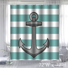Custom Anchor and Blue Stripe Design Waterproof Polyester Fabric Bathroom Shower Curtain