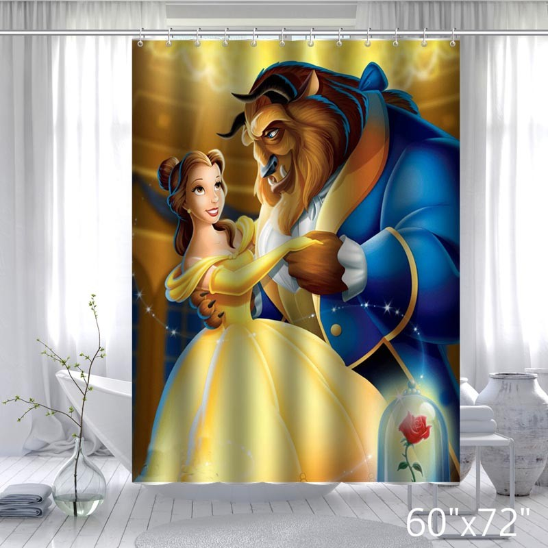Custom Beauty And Beast Bathroom Shower Curtain