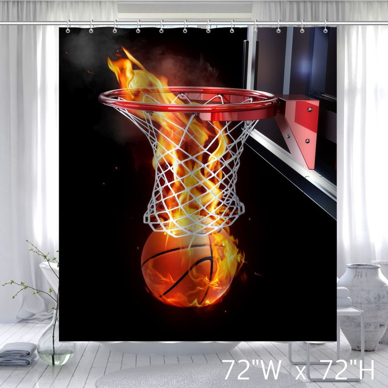 Custom Flaming Basketball Waterproof Bathroom Fabric Shower Curtain