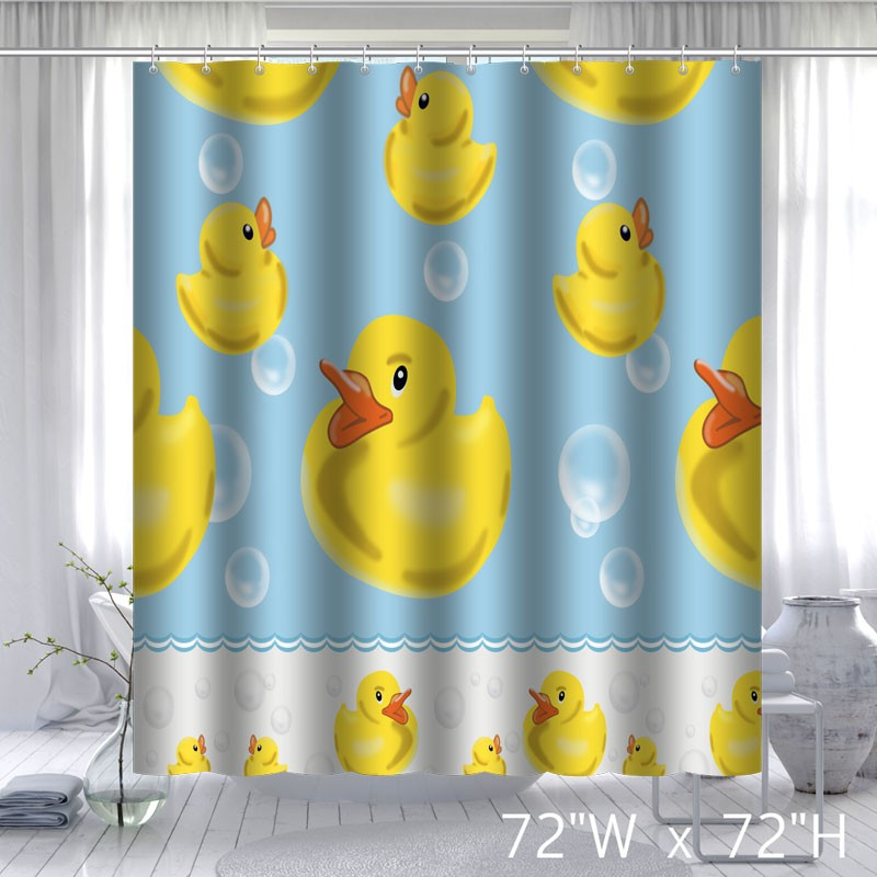 Funny Design Yellow Rubber Duck Shower Curtain